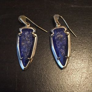Kendra Scott Silver Drop Earrings in Blue Lapis